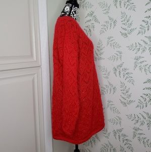 Vintage Sweaters - Vtg Open Knit Chevron Red Sweater Dress Tunic